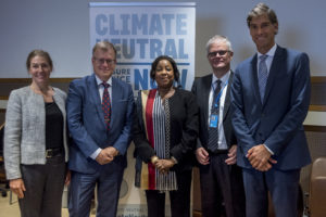 Tracy Raczek, Senior Advisor, UN General Assembly; Jouni Keronen, Myrskyvaroitus ry of Finland; Fatma Samba Diouf Samoura, Secretary General of FIFA; Halldor Thorgeirsson,  UNFCCC Senior Director for Strategy; Federico Addiechi – Head of Sustainability, FIFA
